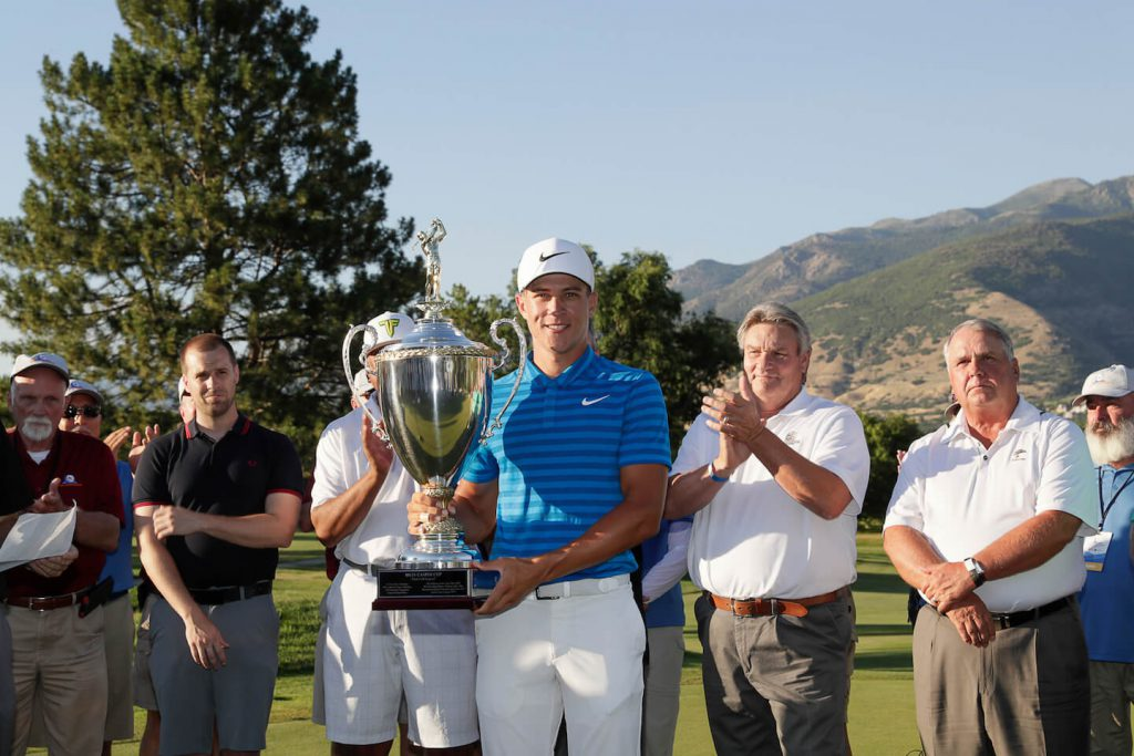 Cameron Champ with Billy Casper Cup
